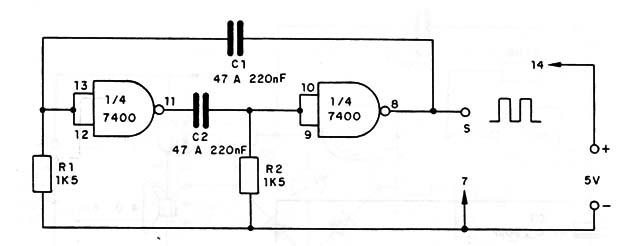 Circuito Oscilador : Oscilador ttl de audio cir s