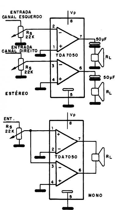 amplificador mono y estereo con lo tda750  cir245s