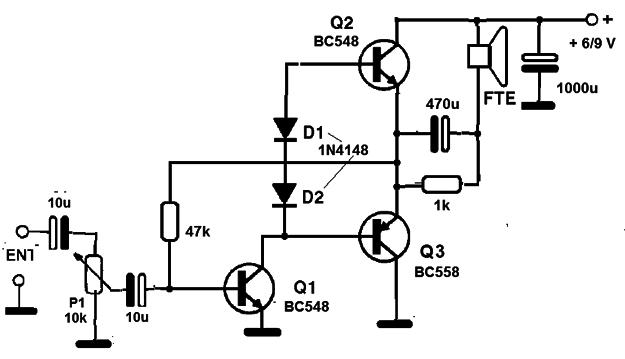 Circuito Amplificador : Amplificador transistorizado de baja potencia cir s